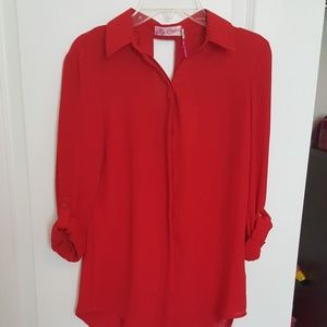 Candie's Tango Red V-Back Button Down Shirt